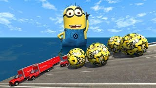 Giant Minion Balls Crushes Cars Epic Crashes - BeamNG.Drive(Giant Minion)