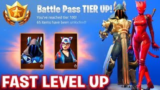 HOW TO GET 100 TIERS IN BATTLE PASS *EASY LEVEL UP* Fortnite SEASON 7 - UNLOCK MAX LYNX & ICE KING