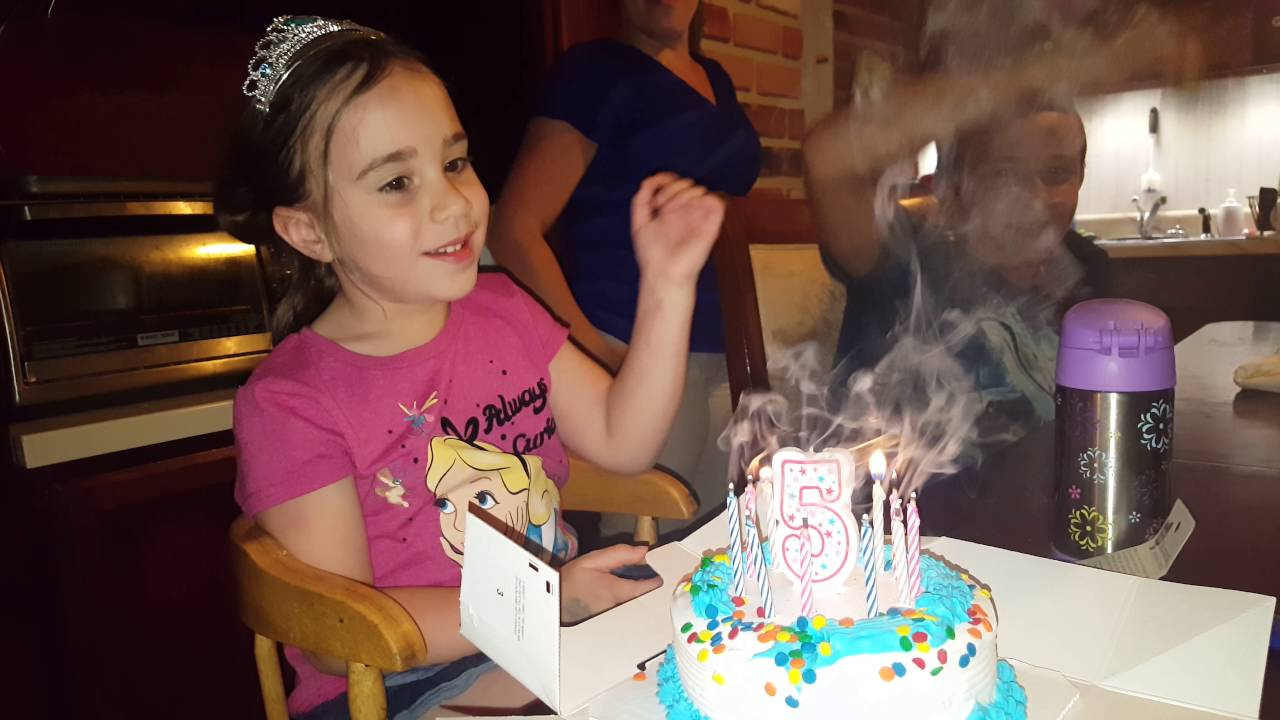 Alexis Blows Out The Relighting Trick Candles On Her 5th Birthday Cake