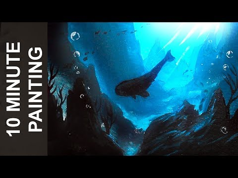 Painting an Underwater Seascape and a Whale with Acrylics in 10 Minutes!