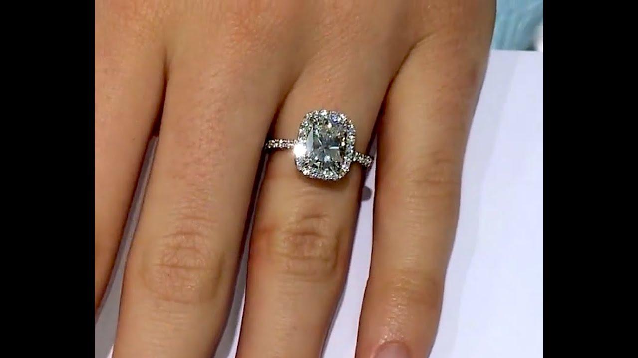 2 40 Ct Cushion Cut Diamond Halo Engagement Ring Youtube