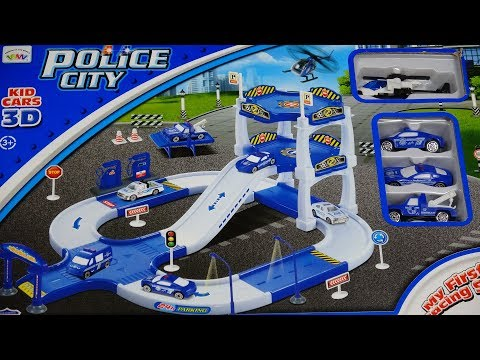 Police City Play Set Parking Garage Car Wash Gasoline Towing Truck Kids Favorite Toy