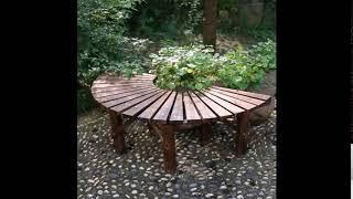 야외정원 공원의자 원형 화분선반 원목나무 미니벤치