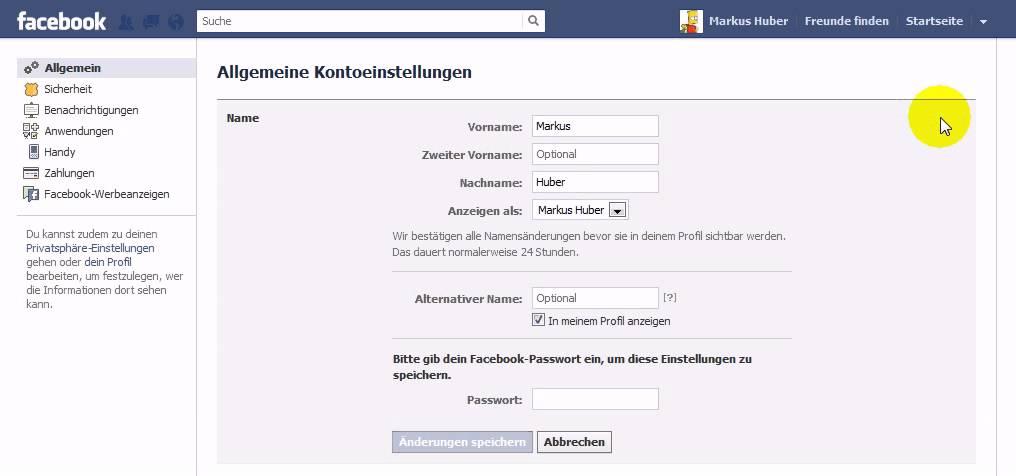 Facebook Namen ändern Anleitung