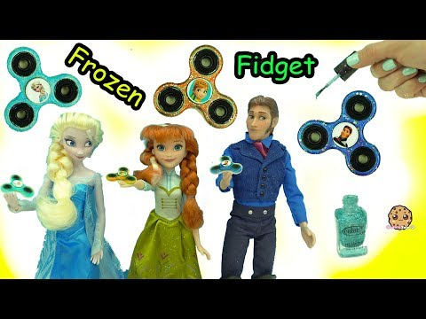DIY Nail Polish Painted Queen Elsa, Prince Hans Frozen Fidget Spinners - Do It Yourself Craft Video thumbnail