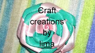 ফিতা দিয়ে গোলাপফুল||How to make double ribbon rose||Ribbon craft ||Rose flower||Diy craft