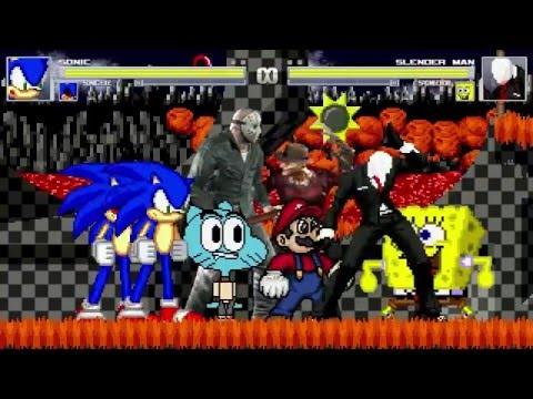 AN Mugen Request #358: Sonic, Sonic.exe, Gumball & Jason VS Slenderman, Spongebob, Freddy K. & Mario