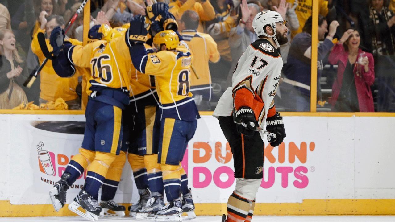 3e8a22d37910cb Sissons' hat trick helps Predators oust Ducks, reach 1st Stanley Cup Final