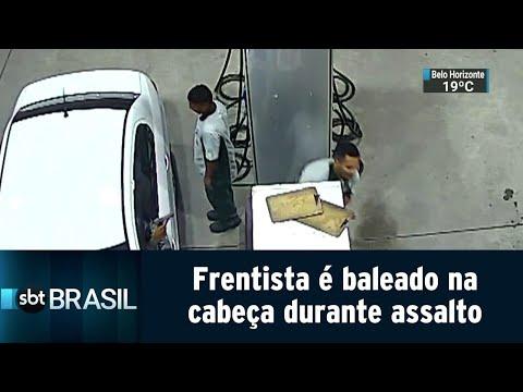 Frentista é baleado na cabeça durante assalto a posto de combustíveis | SBT Brasil (23/07/18)
