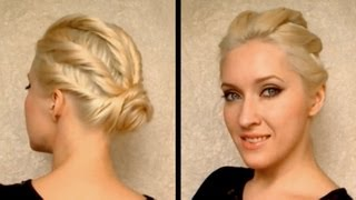 Party hairstyle for prom, wedding for medium long hair Coiffure facile a faire cheveux mi long