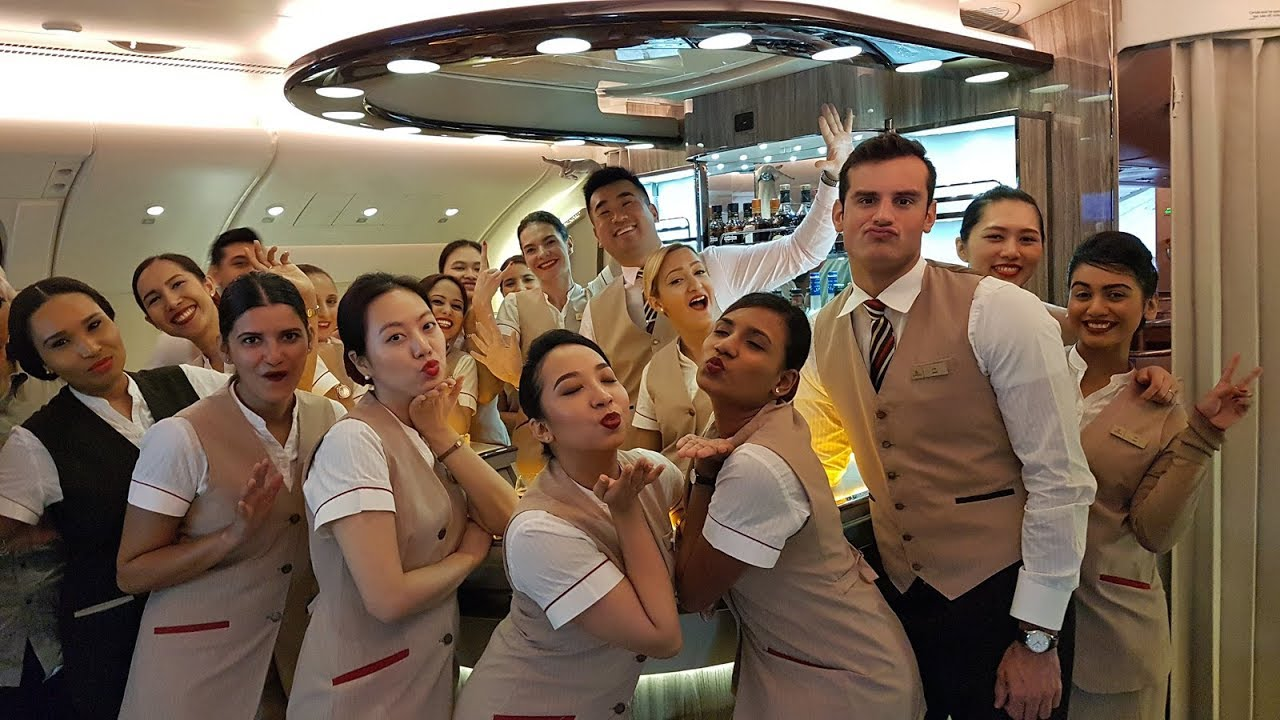 The NEW Emirates A380 Onboard Lounge (Bar)