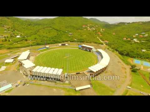 Flying over the Darren Sammy National Cricket Stadium,  Saint Lucia
