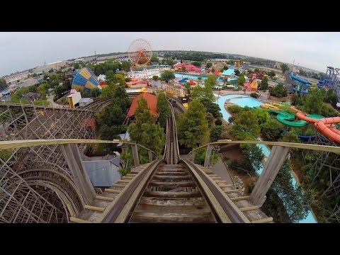 Thunder Run Wooden Roller Coaster POV Kentucky Kingdom Louisville
