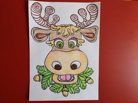 Картинка раскраска весёлый лось