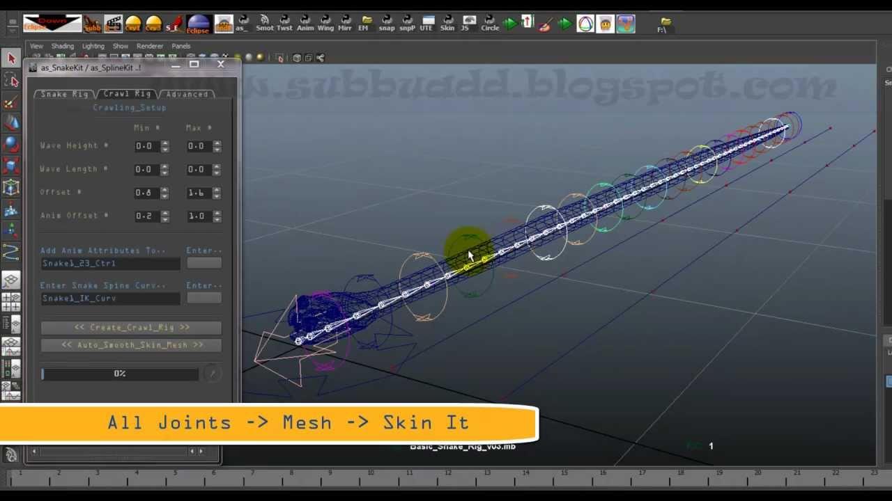Subbu Addanki: Python Scripting : Snake Kit -Auto Snake Rigging
