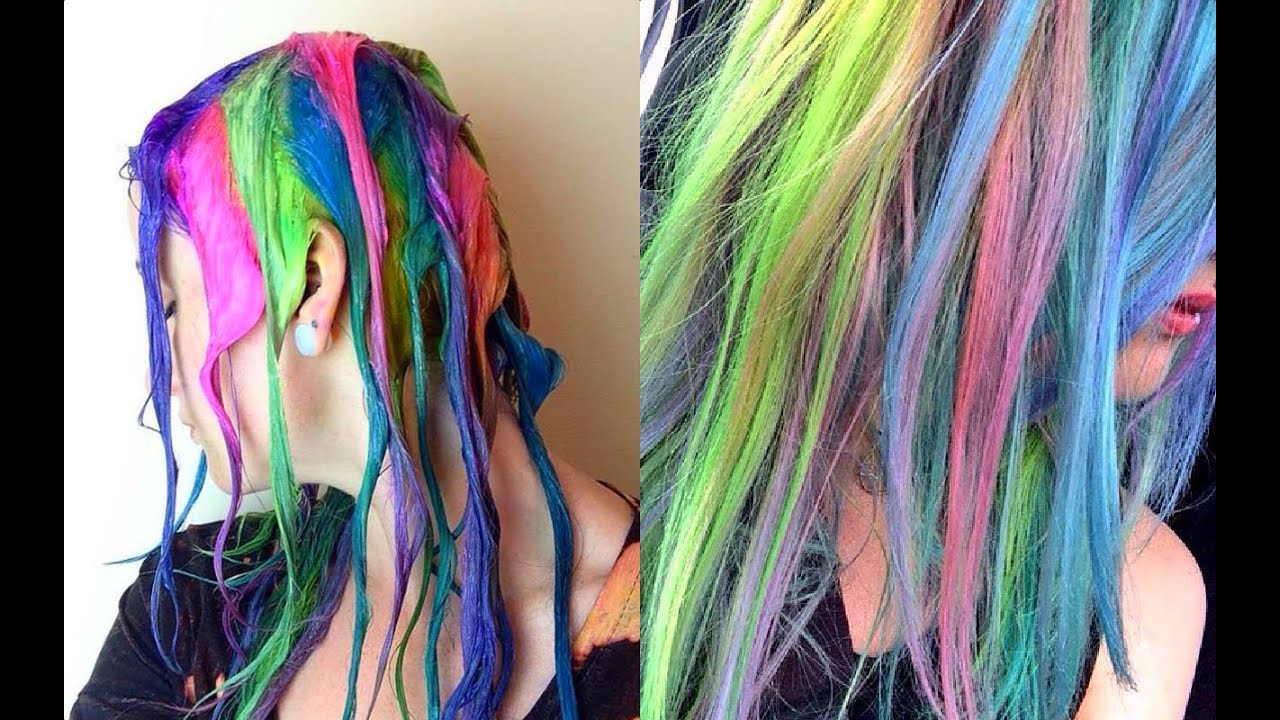 rainbow candy floss hair tutorial