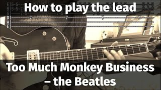 Too Much Monkey Business (The Beatles Ver.) - how to play the lead (solo part)