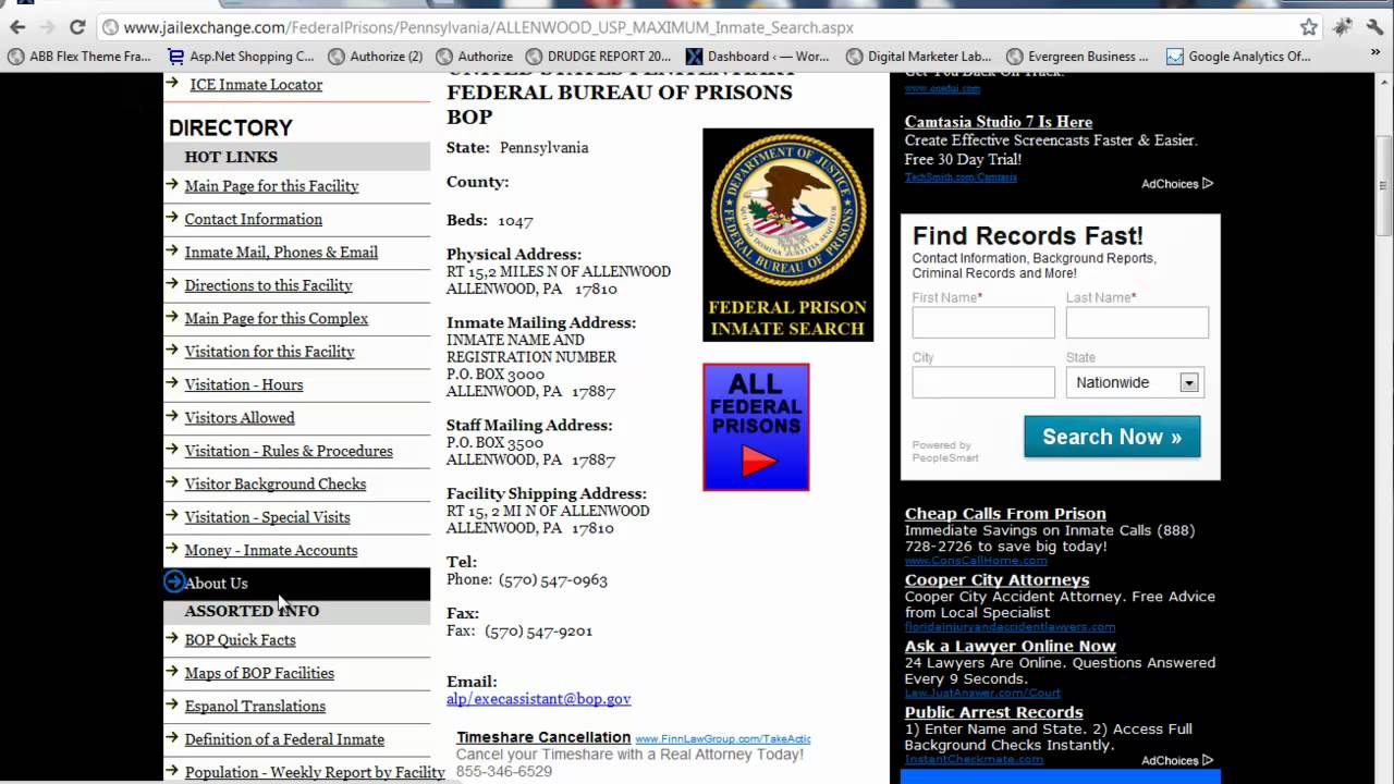 Search inmate pictures with federal