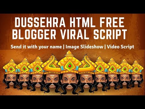 Happy Dussehra HTML Blogger Script🔥Free Wishing Festival Website Script🔥Whatsapp Viral Script