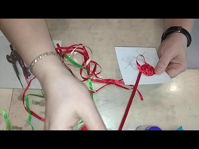 Гордеева И  Умельцы  Оригами 30 04 Открытка  Работа с атл  лентами