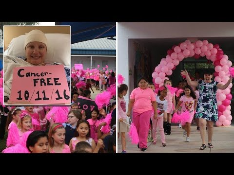 Kids Welcome Teacher Who Beat Cancer Back to School With 'Fight Song'