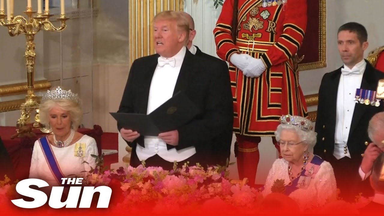 The Sun - President Trump attends the Royal Banquet | UK visit LIVE
