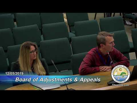Board Of Adjustments And Appeals Meeting — 12/05/2019 - 6:00 P.m.