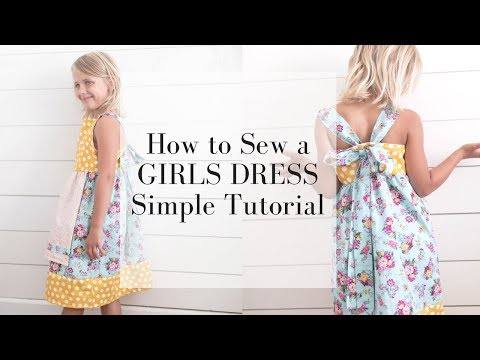 Easy Girls Dress Sewing Tutorial | Bow in the Back Summer Dress