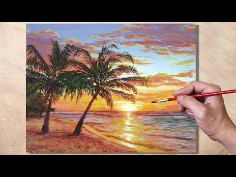 Acrylic Painting Beach Sunset Landscape