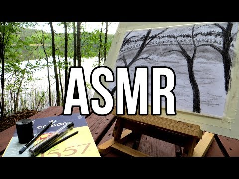 ASMR Charcoal Drawing Outdoors No Talking || Nature Sounds, Birds Chirping