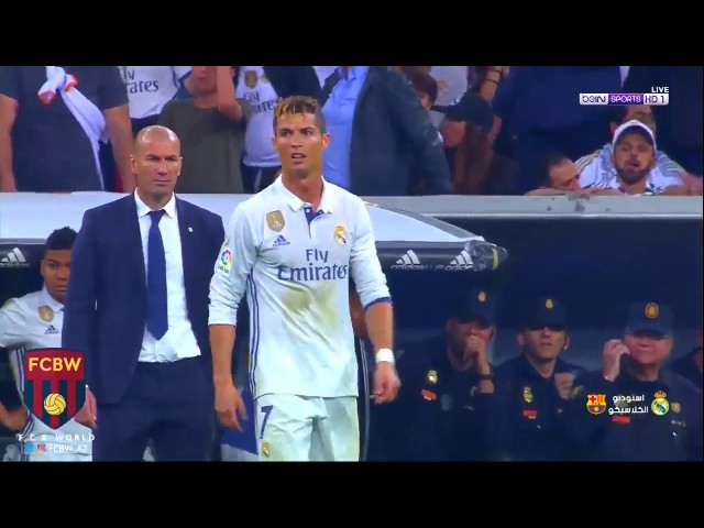 Cristiano Ronaldo reaction after Messi last minute goal   23.04.2017