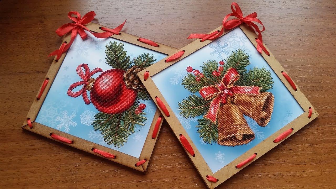 Открытки с вышивкой своими руками новогодние