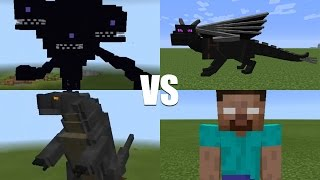 What Happens When You Spawn Herobrine, Godzilla, Wither Storm & Ender Dragon in MCPE?