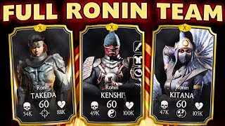 MKX Mobile 1.20. Full Ronin Team is INCREDIBLE! Crazy Damage by Ronin Kitana and Ronin Takeda!