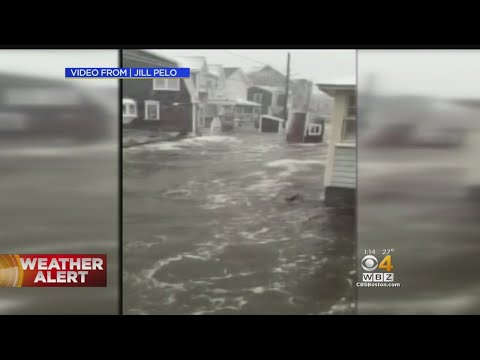 Flooding In Scituate As Blizzard Breaches Seawall