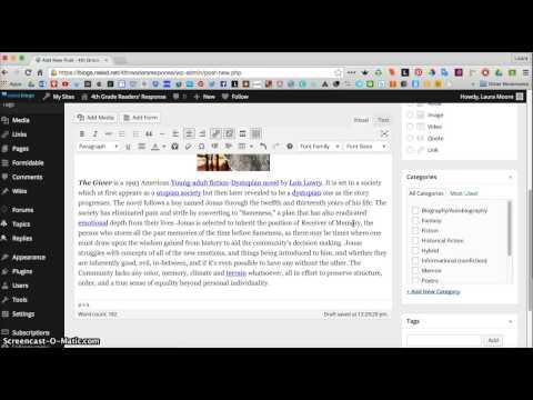 Publishing a Post in Edublogs