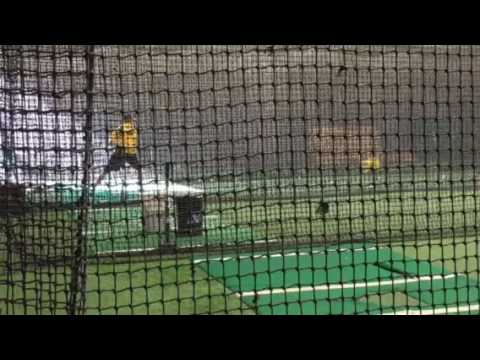 Cole Friend hitting with BPA's Jared Sandler