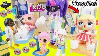 LOL Surprise Dolls Lil Sisters visit Playmobil Baby Doctor