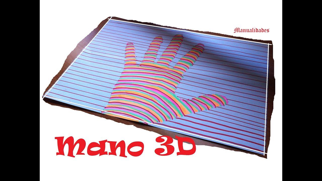 Manualidades para niños: Como dibujar una mano en 3D - YouTube