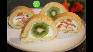 Fruit Roll Cake Recipe - Cách làm Bánh Bông Lan Cuộn Trái Cây