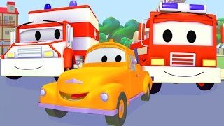 Tom The Tow Truck with the Fire Truck, Taxi, Tractor, Garbage Truck, Police Car in Car City