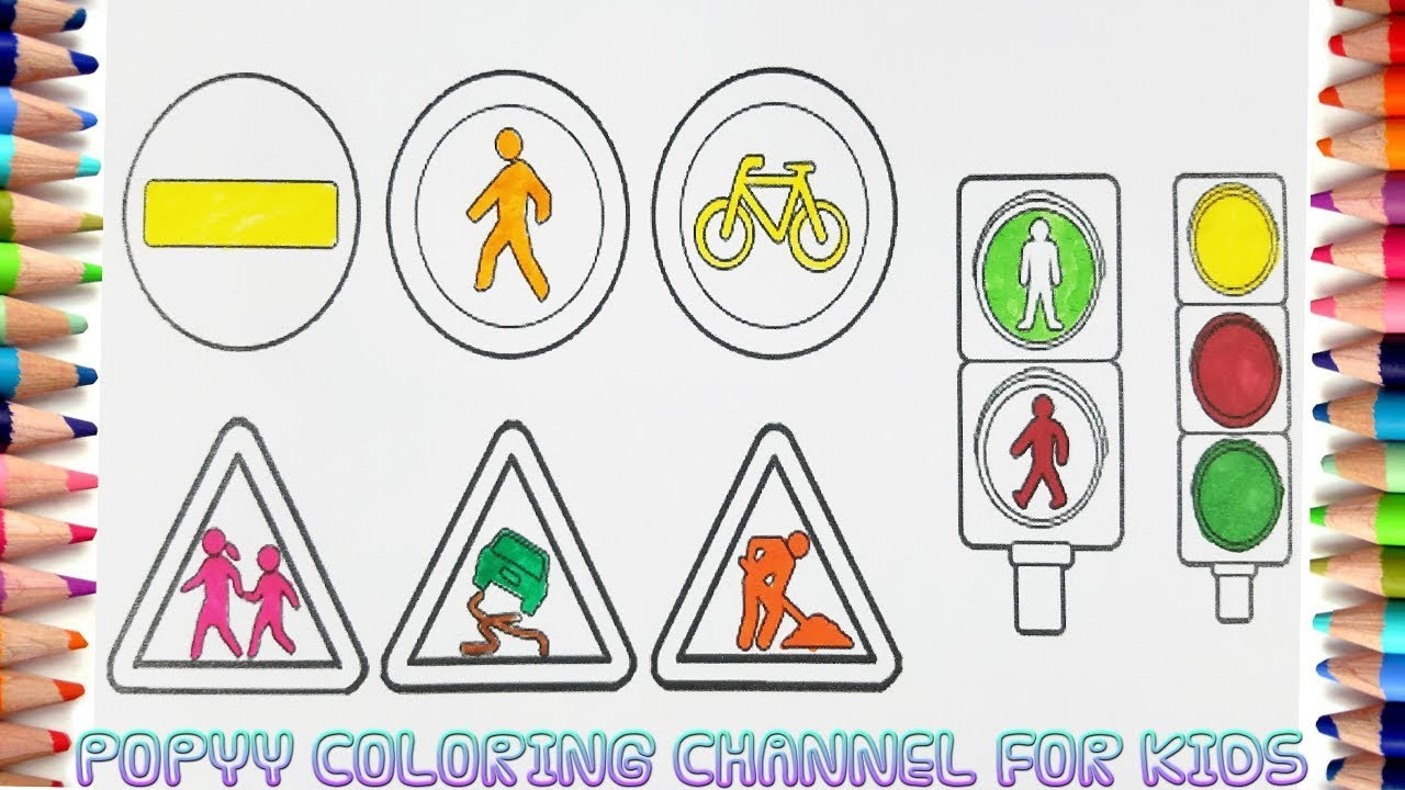 How to Draw Traffic Signs Colouring Pages for Kids Videos ...