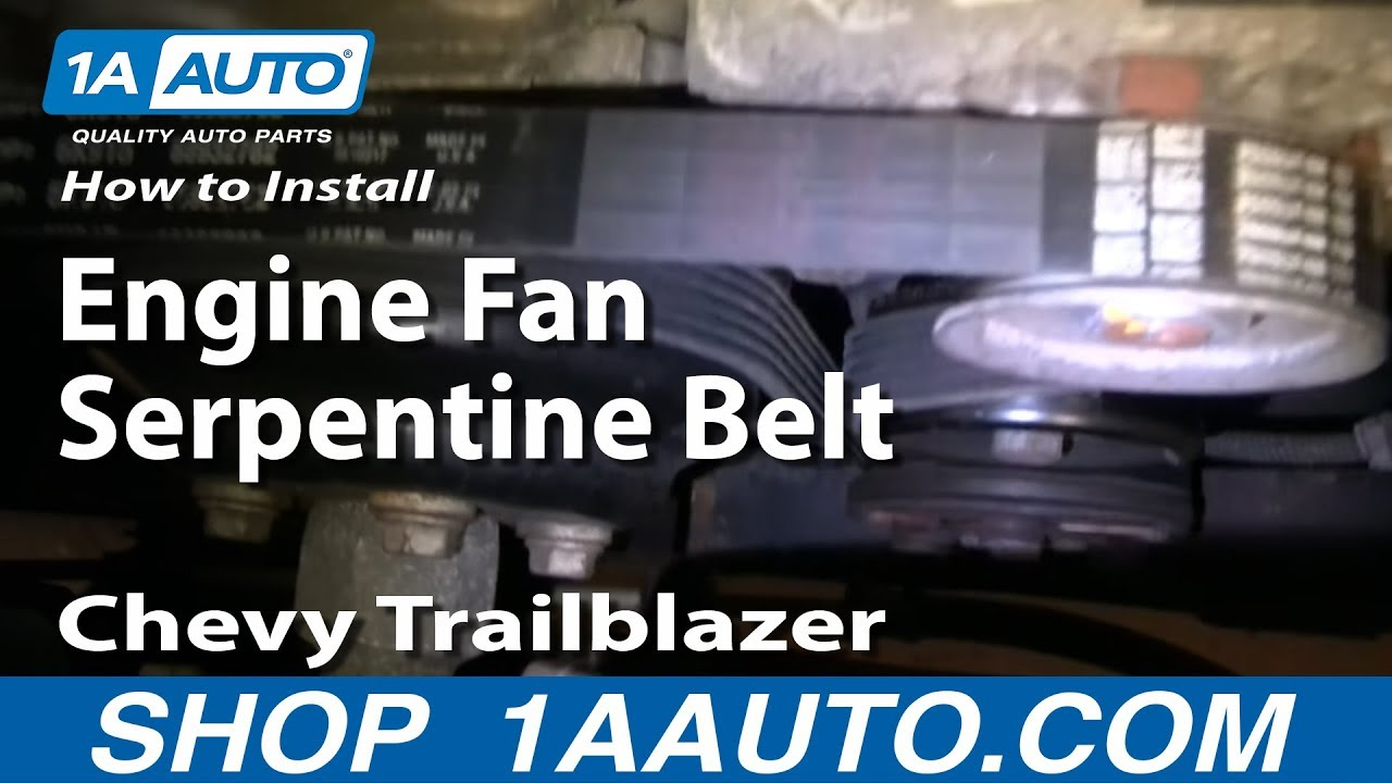 how to install replace engine fan serpentine belt chevy trailblazer rh youtube com 4.2 Vortec Engine Diagram 2003 chevy trailblazer engine diagram