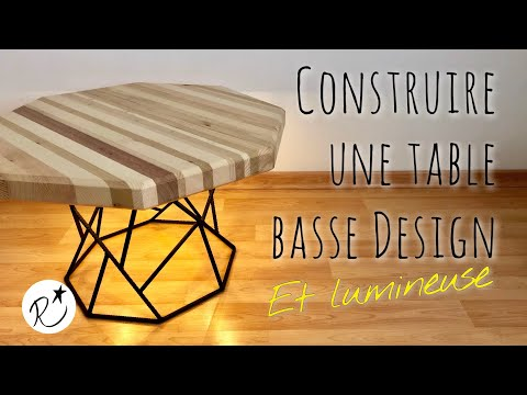 Construire une table basse bois et métal lumineuse design (DIY making a wood and metal coffee table)