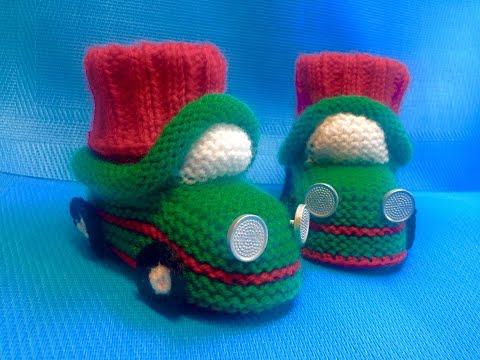 Вязание спицами пинетки-машинки #33