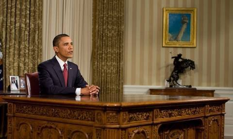 Why President Obama Was Standing During His Oval Office Address The Independent The Independent