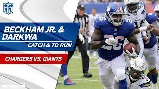 Beckham's Bobbling Catch & Darkwa Explodes for TD Run!   Chargers vs. Giants   NFL Wk 5