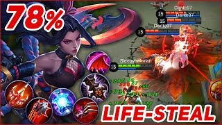 HANABI 78% LIFE-STEAL TROLL BUILD! RESTORATION WOMAN, RECOVERY EXTREME! Mobile Legends