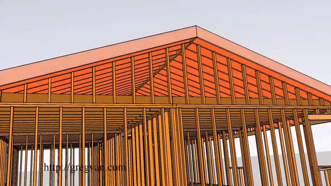 house roof framing 3 d single story conventional home