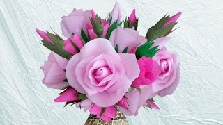 Repeat youtube video Learn Home Decoration Idea With DIY Crepe Paper Roses : How to Make Paper Rose Bouquet ?